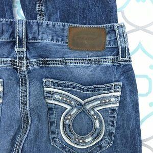 Mens 33L 33x34 Big Star Buckle Union Straight Leg blue jeans